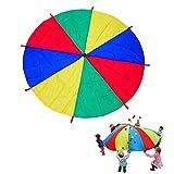 Wisolt 3m Schwungtuch für Kinder und Familie - Bunt Fallschirm Parachutes Spielzeug (5-8 Kinder)