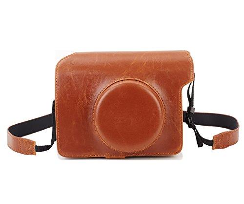 Leebotree Fujifilm Instax Wide 300 Custodia, Protettiva in Pelle Soft PU con Cinturino a Spalla per Fujifilm Instax Wide 300 Fotocamera Istantanea (Marrone)