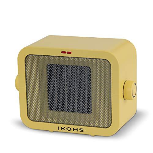 IKOHS WARMIC - Calefactor Cerámico de Habitación, Calefactor Portátil, 1500W, Termostato Regulable, 2 Modos de Potencia, Calefactor de Aire Caliente PTC, Protección del Sobrecalentamiento (Amarillo)