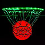 GlowCity Light Up LED Rim Kit with LED Basketball Included - Green, Size 7 Basketball (Official Size)