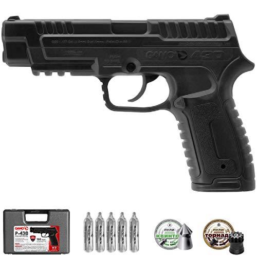 Ecommur Gamo P-430 Dual Pack | Pistola de balines (munición Dual: perdigones y Bolas BB's) de hasta 150 m/s semiautomática (CO2) - 3.5 Julios