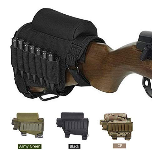 Tactical Pro Sports Rifle Cheek Riser, Tactical Rifle Cheek Rest with 7 Rifle Stocks Holder for 300 308 Winmag. (Black)