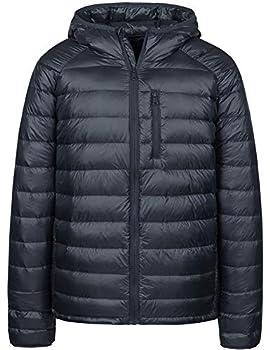 Wantdo Mens Water-Resistant Packable Ultra Light Puffer Down Jacket Dark Grey L