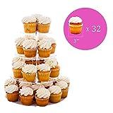 Queta Tortenständer Cupcake Ständer für Hochzeit, Party, Geburtstag, Baby Duschen & Kuchen Dessert, 4-stöckig Acryl, 15cm/ 18.7cm / 22.5cm/ 26.3cm Durchmesser - 4