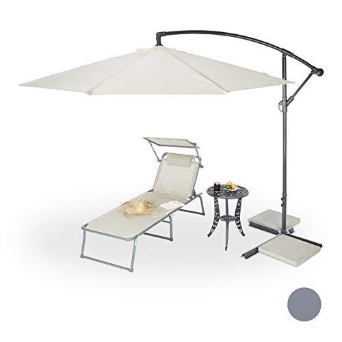 Relaxdays Ombrellone Giardino, Diametro 3m, palo Laterale Acciaio 38mm, Poliestere, Stecche, orientabile, Diversi Colori