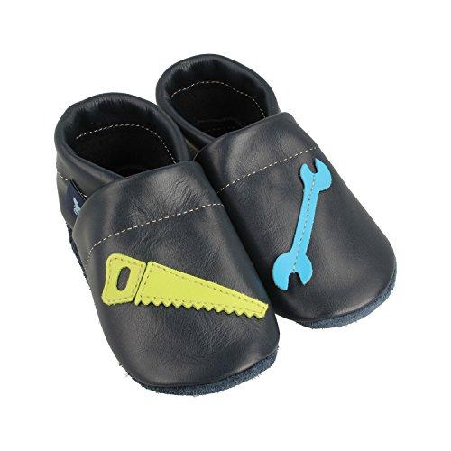 Pantau IT'S A SMALL WORLD Chaussons d'éveil et chaussons en cuir avec outils - Pour enfants et adultes - 100 % cuir - Fait main - Bleu - bleu, bleu clair, vert pomme, 43 EU