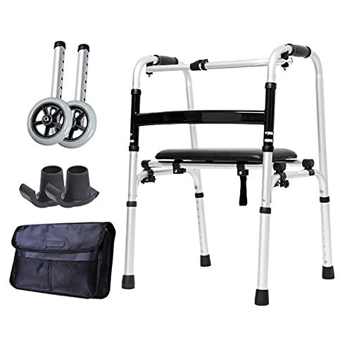 Andadores para Ancianos Andador Vertical Ligero al Aire Libre, para Adultos Mayores Discapacitados, Andador con Ruedas Plegable para Personas Mayores, con Altura Ajustable, Carga 180 Kg