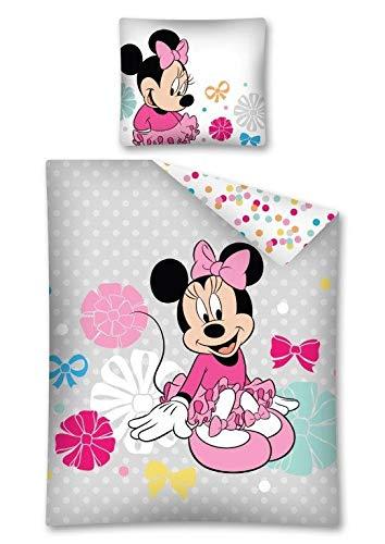 Disney Kinderbettwäsche 100% Baumwolle Reißverschluss 70x80 + 140x200 cm (Minnie Mouse bunt)