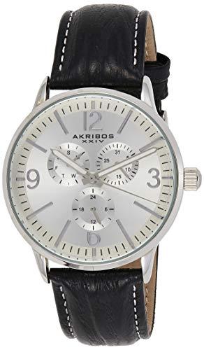 Akribos XXIV Reloj analógico de cuarzo japonés con correa de cuero para hombre