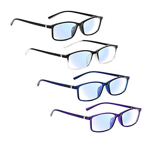 Lesebrille 4 Pack Blaulichtfilter Brille Anti Müdigkeit Anti Blaulicht PC Gaming Brille mit 4 Tragbaren Brillenetuis (3.5x, 4 Mix Farbe)