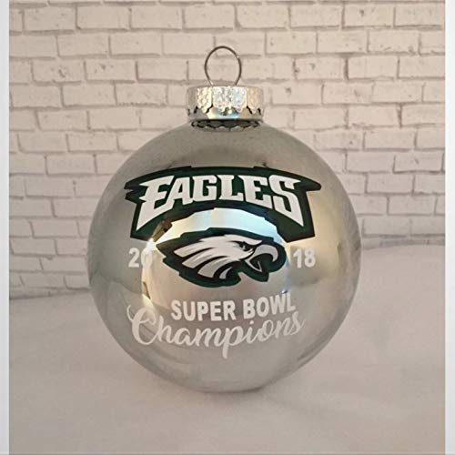 BYRON HOYLE PHIL ADELPHIA EAGLES 2018 Super Bowl 52 Champions Silver Christmas Ornament Christmas Ball Ornaments Shatterproof Christmas Decor Tree Balls for Holiday Wedding Party Decor