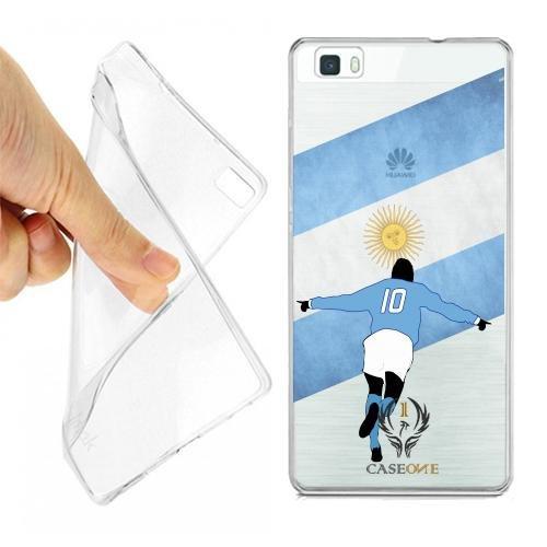CASEONE Linea Top Custodia Cover Case Calciatore Argentina per Huawei P8 Lite Trasparente