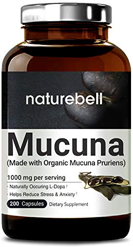 NatureBell Mucuna 1000mg Per Serving, 200 Capsules, Contains Premium Mucuna Pruriens Seeds for Mood Mind and Brain Health, No GMOs, Made in USA
