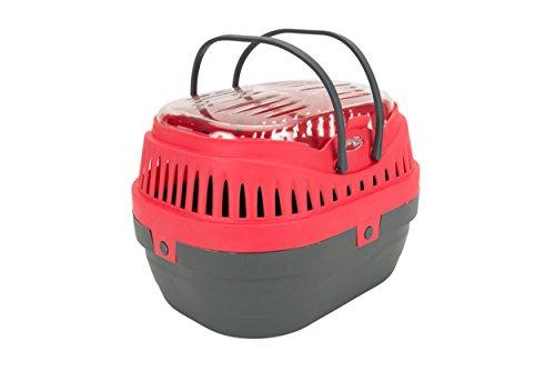 Tyrol Panier de Transport en Plastique Résistant pour Lapin/Furet/Rongeur/Cochon d'Inde Framboise/Gris 30 x 23 x 21 cm 12 Unité
