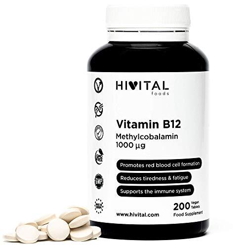Vitamina B12 Metilcobalamina 1000 mcg | 200 comprimidos VEGANOS para más de 6 meses. Contribuye a la formación de glóbulos rojos, reduce el cansancio y la fatiga, y mejora el sistema inmunológico