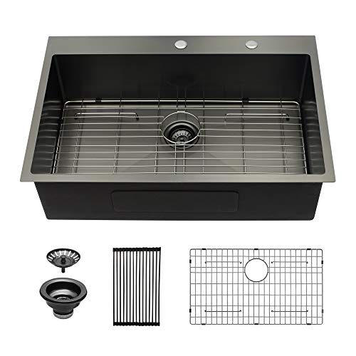 Black Drop In Kitchen Sink - Sarlai 28 Inch Kitchen Sink Drop In Topmount Gunmetal Black Stainless Steel 16 Gauge Single Bowl Drop Kitchen Sink Basin
