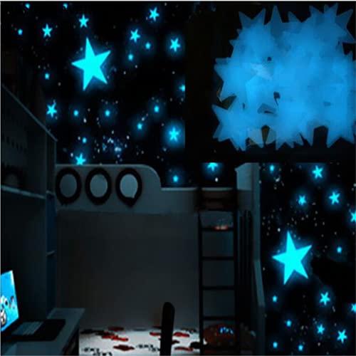 Warring States 100 UNIDS 3D Dark Blue Blue Star Star Wall Sticker Pegatina Luminosa Etiqueta Fluorescente Color de la habitación de los niños Decoración del hogar