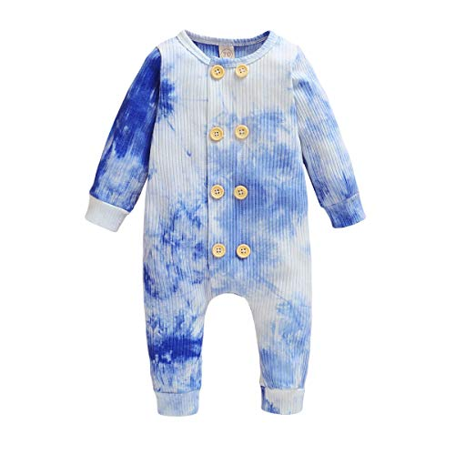 YOUNGER TREE Newborn Infant Baby Girls Boys Romper Tie Dye Long Sleeve Bodysuit Knitted Button One Piece Jumpsuit Outfit (Blue, 0-6 Months)