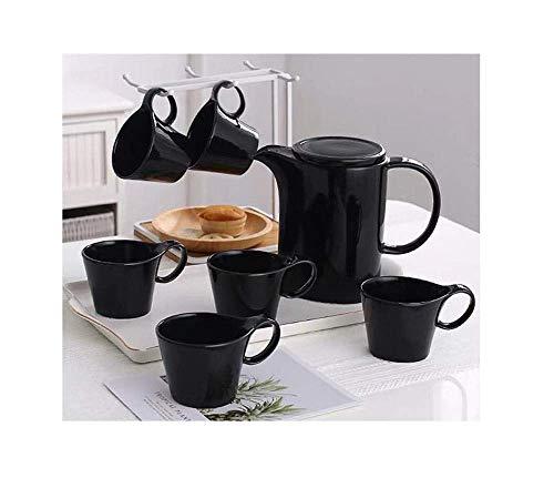 Tcbz Exquisito Juego de té nórdico/Taza de café Juego de Tazas de cerámica Sala de Estar en casa Oficina Simple Clásico Blanco y Negro con bandejas y estantes para el hogar