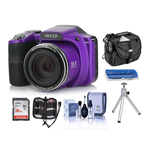 Minolta M35Z 20MP 1080p HD Bridge Digital Camera with 35x Optical Zoom, Purple - Bundle with Camera Case, 16GB SDHC Card, Memory Wallet, Cleaning Kit, Card Read er, Tabletop Tripod