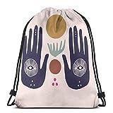 OPLKJ Kordelzug Rucksack Tasche, Hasma Hand Wandtasche Tragbare Sackpack Aufbewahrungstasche für Camping Wandern Schwimmen Einkaufen Wandern Travel Beach
