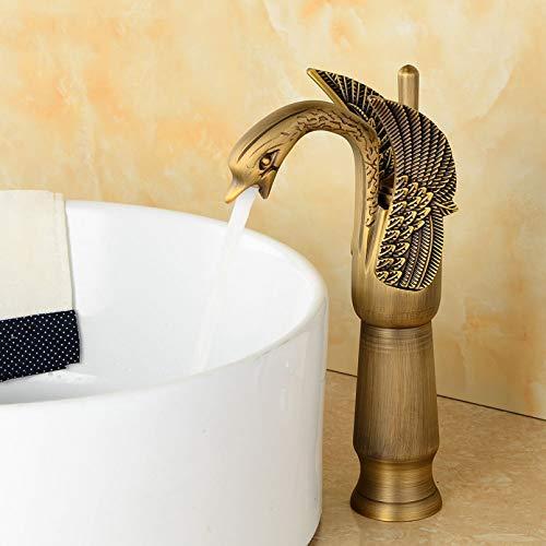 YHSGY Grifos De Baño Acabado Dorado Agua Fría Y Caliente Diseño De Cisne De Lujo Grifos De Lavabo Vanity Vessel Fregadero Grifos Mezcladores