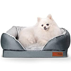 Fida Orthopedic Dog Bed with Memory Foam Base – Dog Lounge Sofa with Removable Washable Cover, Pets Couch Beds for Small/Medium/Large Dogs & Cats
