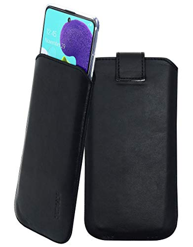 Suncase Etui Tasche kompatibel mit Samsung Galaxy A51 mit ZUSÄTZLICHER Hülle/Schale/Bumper/Silikon *Lasche mit Rückzugfunktion* Handytasche Ledertasche Schutzhülle Hülle in schwarz
