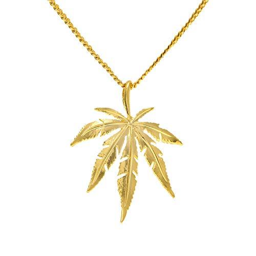 taPfPmFD Collar Pendiente del Acero Inoxidable Collares Marihuana Weed Hoja de los Hombres con la Cadena de 23,6 Pulgadas
