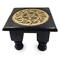 Carved Wooden Pentagram Altar Table - Painted Black with Gold Design -6 Inches Wide, 4 Inches Tall