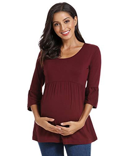 Love2Mi Damen Schwanger T-Shirt Umstandsshirts Streifen Lose Umstandstops Mama Kleidung mit 3/4 Bell-Sleeve (Weinrot, L)