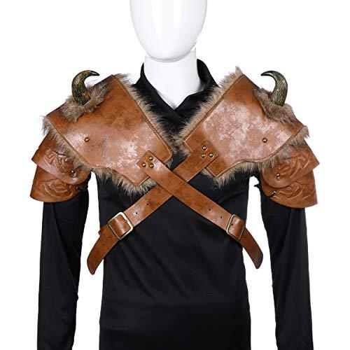 YAHUIPEIUS Men Shoulder Armor Costume Adjustable PU Armor with Horn Viking Pirate Gladiator Spartan Warrior Costume (Left Shoulder+Right Shoulder)