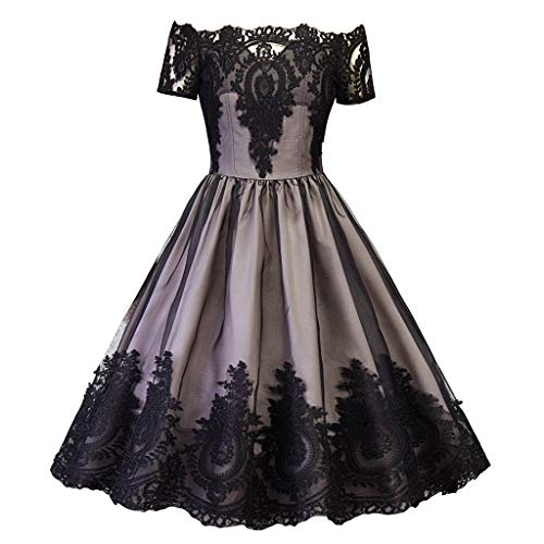 Yivise Mujer Encaje Vintage Manga Corta Hombro A Line Flared Country Rock Cocktail Swing Party Vestido de Fiesta(Negro, x-Large)