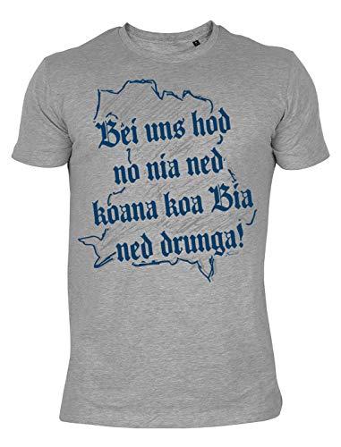 Trachten T-Shirt mit bayerischen Spruch - Bei Uns hod no nia ned koana koa Bia ned drunga