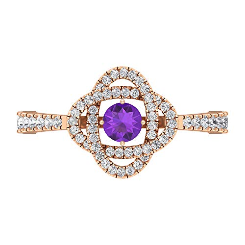 Anillo solitario de amatista de 4 mm, anillo de compromiso de diamante HI-SI, anillo solitario con piedras laterales, anillo de compromiso de oro de 14 quilates, Metal, Diamond Amethyst,
