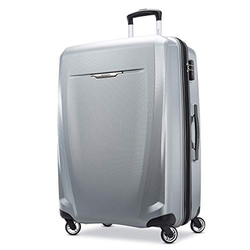 Samsonite Winfield 3 DLX Hardside Expandable Luggage with Spinners, Silver, Checked-Large 28-Inch