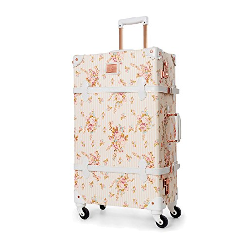 UNIWALKER Travel Floral Suitcases Vintage Cute Luggage for Women (26')