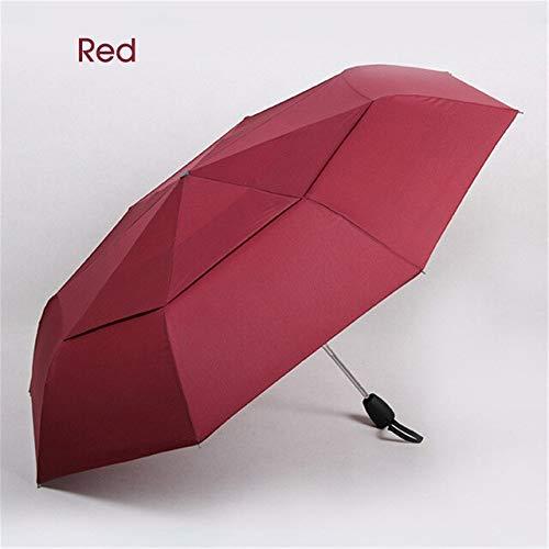 NJSDDB paraplu Grote Paraplu Voor Mannen Dubbele Laag 3 Opvouwbare Wind Weerstand Automatische Paraplu Regen Vrouwen Reizen Waterdichte Paraplu Groothandel, Rood