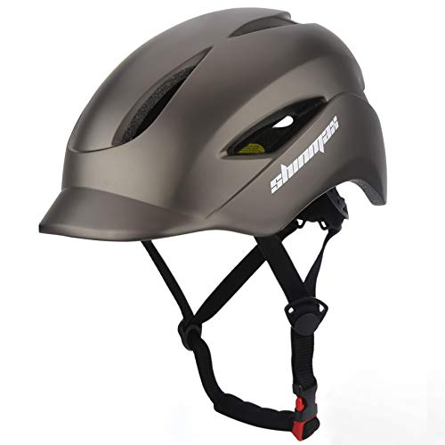 Shinmax Adult Bike Helmet Bicycle Helmet with Led Rear Light  Cap Style Visor  Portable Carry Backpack for Urban Commuter Cycling Lightweight Adjustable Size for Men amp Women