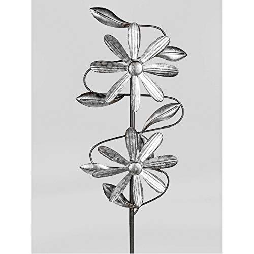 formano Gartenstecker doppel Windrad aus Zink H. 115cm antik Silber Metall F20