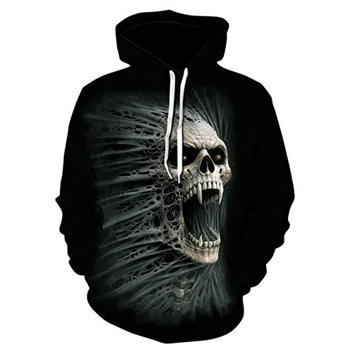 XLGJWY 3D Pullover Hoodies Men'S 3D Printing Hooded Sweatshirt Creative Punk Style Skull Hoodie Fall/Winter Fashion Hoodie Pullover Xxs