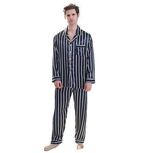 Herren-Schlafanzug-Set, gestreift, bedruckt, langärmelig, mit Knopfleiste, glatt,...