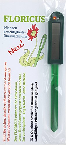 Floricus Grün (lang) - in peppiger Hülle - div. Farben - keiner reagiert schneller - Perfekter Solar-Feuchtigkeitsmesser/Gießanzeiger für Ihre Pflanzen - IN- und Outdoor geeignet