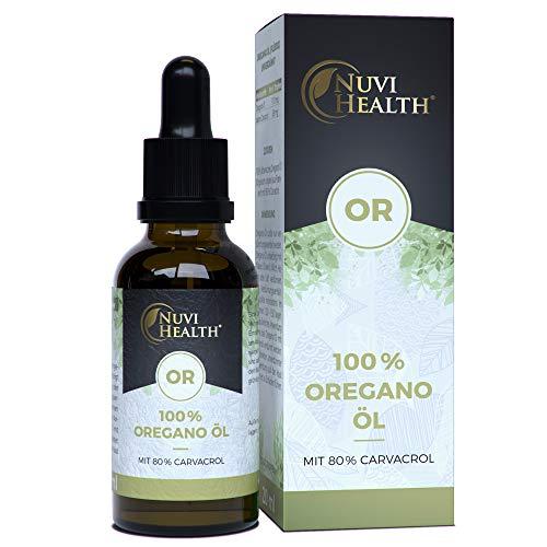 Nuvi Health® Oregano Öl - 20 ml = 820 Tropfen - 80% Carvacrol - Laborgeprüft - 100% ätherisches Oreganoöl aus Frankreich - Keine Zusätze - Hochdosiert - Vegan - Origanum vulgare hirtum