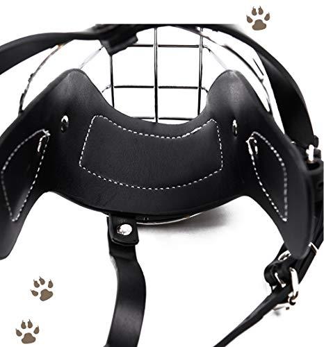 Bozal de piel ajustable para perro con jaula de hierro para evitar ...