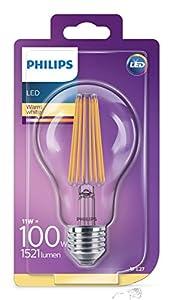 Philips bombilla LED Estándar de filamento, casquillo gordo E27, 11 W equivalentes a 100W en incandescencia, 1521 lúmenes, luz blanca cálida