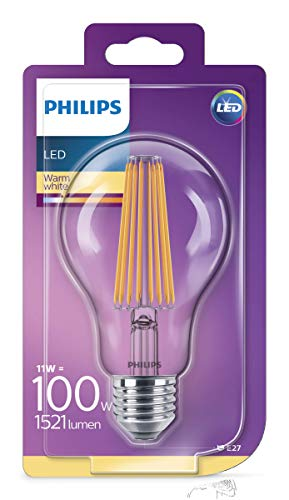 Philips Lighting Lampadina LED Classic Goccia E27, 11 W Equivalenti a 100W, [Classe di efficienza energetica A++]