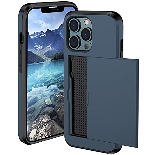 Funda para iPhone 12 Pro,Funda Cartera Billetera para iPhone 12 Pro Carcasa [tarjetero], Hard PC Silicona TPU Bumper Antigolpes Case para iPhone 12 Pro (azul)
