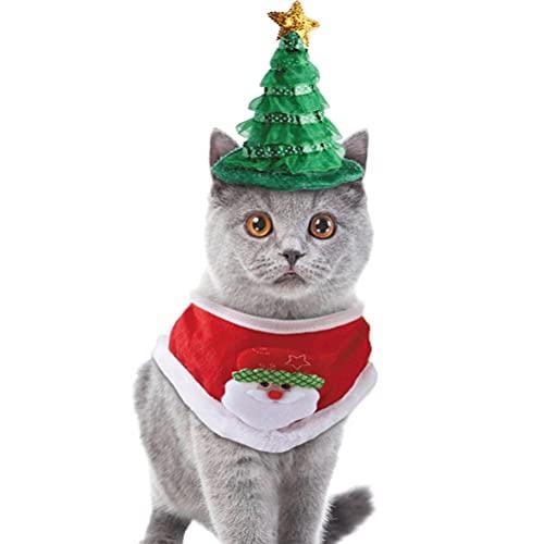 Auplew Juego de gorro de Navidad y bufanda para perros, gorro de Navidad, decoración de Navidad, animales pequeños