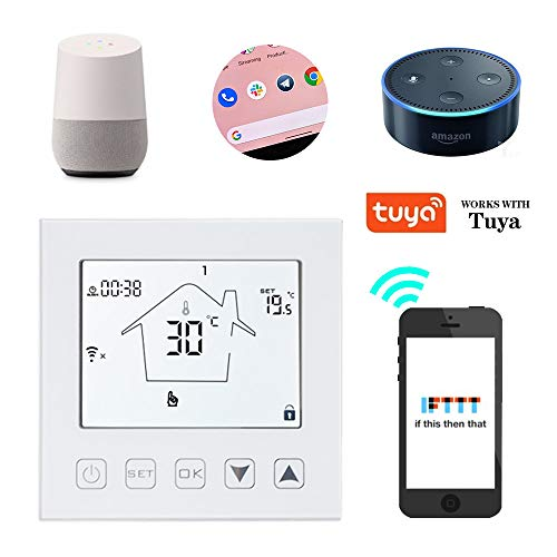 KETOTEK WiFi Smart thermostaat verwarming temperatuurregelaar programmeerbare elektrische vloerverwarming kamerthermostaat thermostaat met sensor compatibel Amazon Echo/Google Home/IFTTT/Tuya 90V-250V 230V